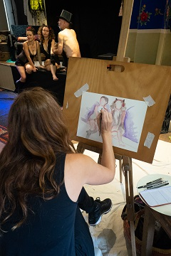 life drawing event in byron bay artist at work